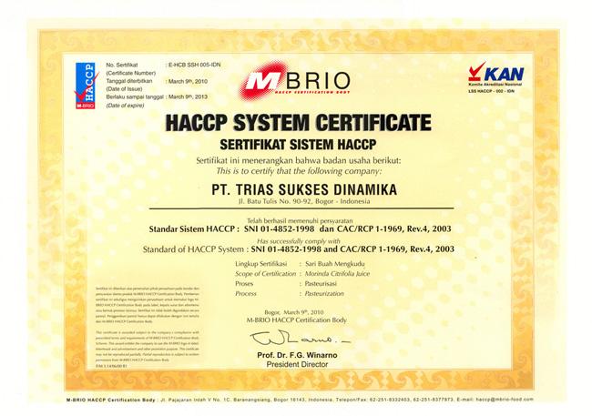 Image result for sertifikat HACCP